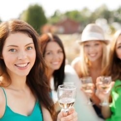 Girls with wine