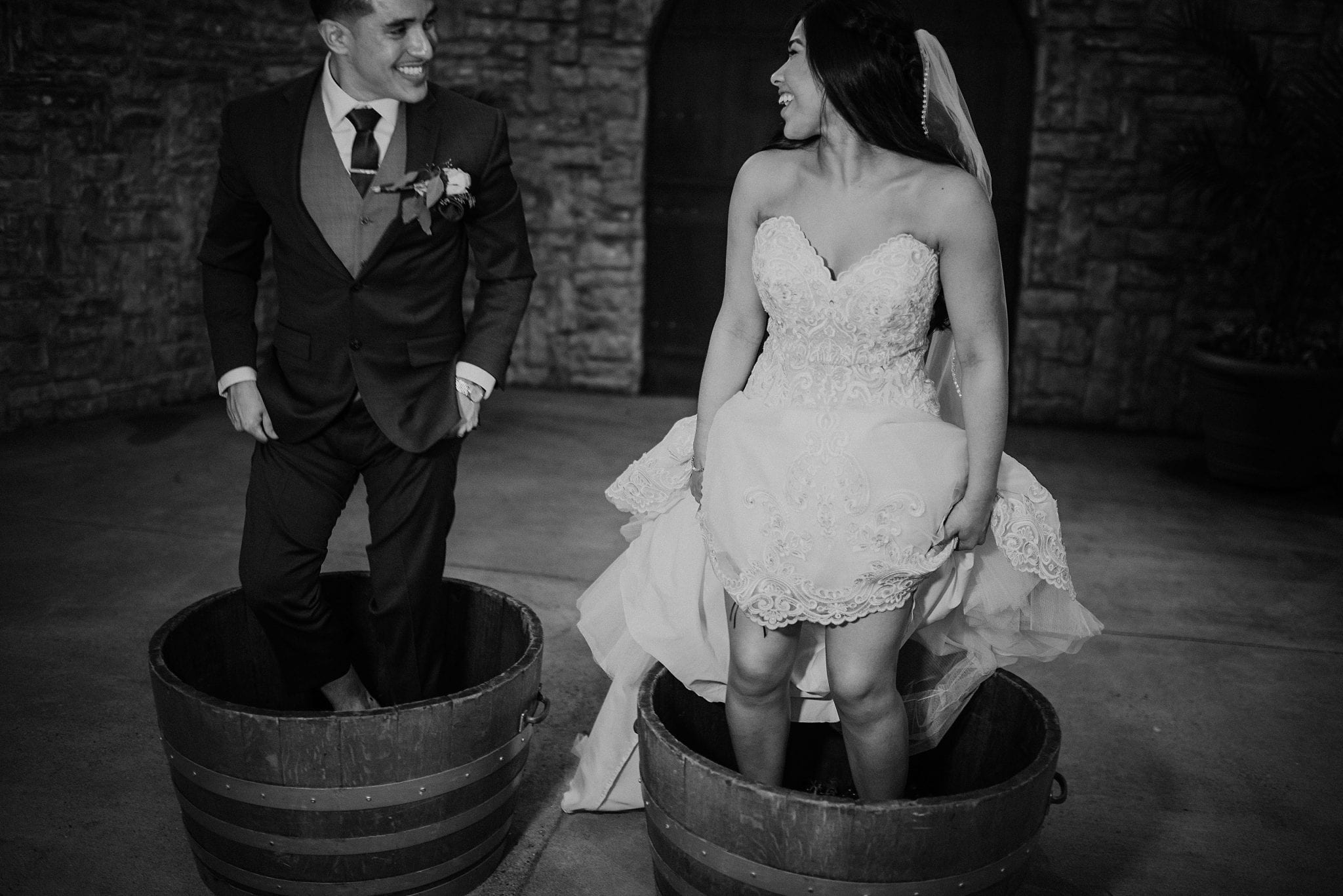 Bride and Groom Grape Stomping