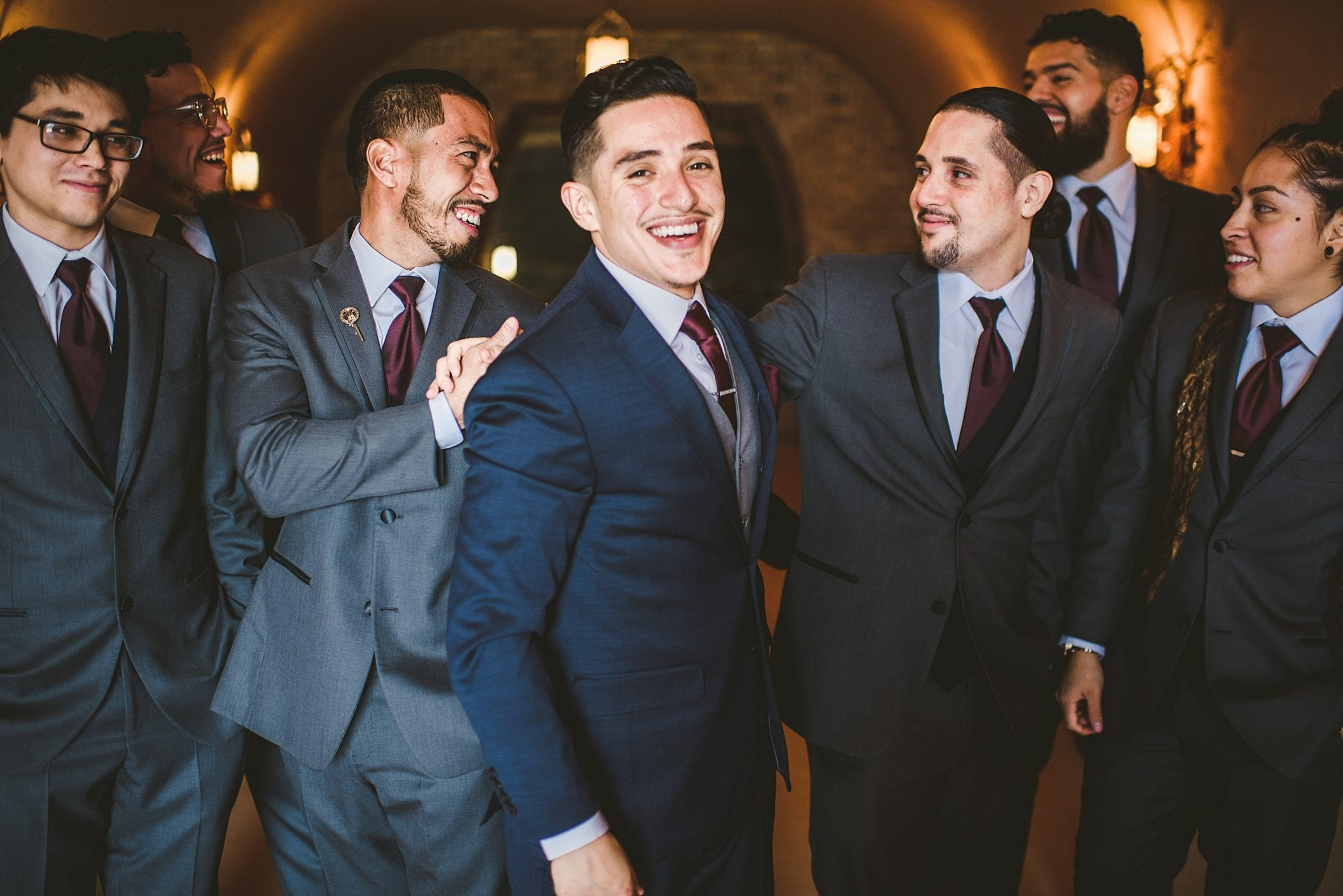 Groom and Groomsmen at winery wedding